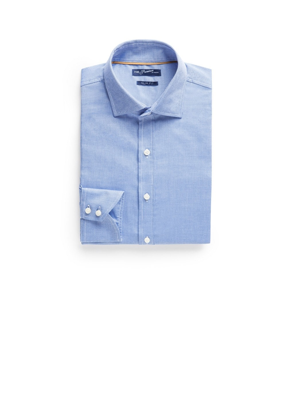 Slim-fit premium textured cotton shirt | MANGO MAN