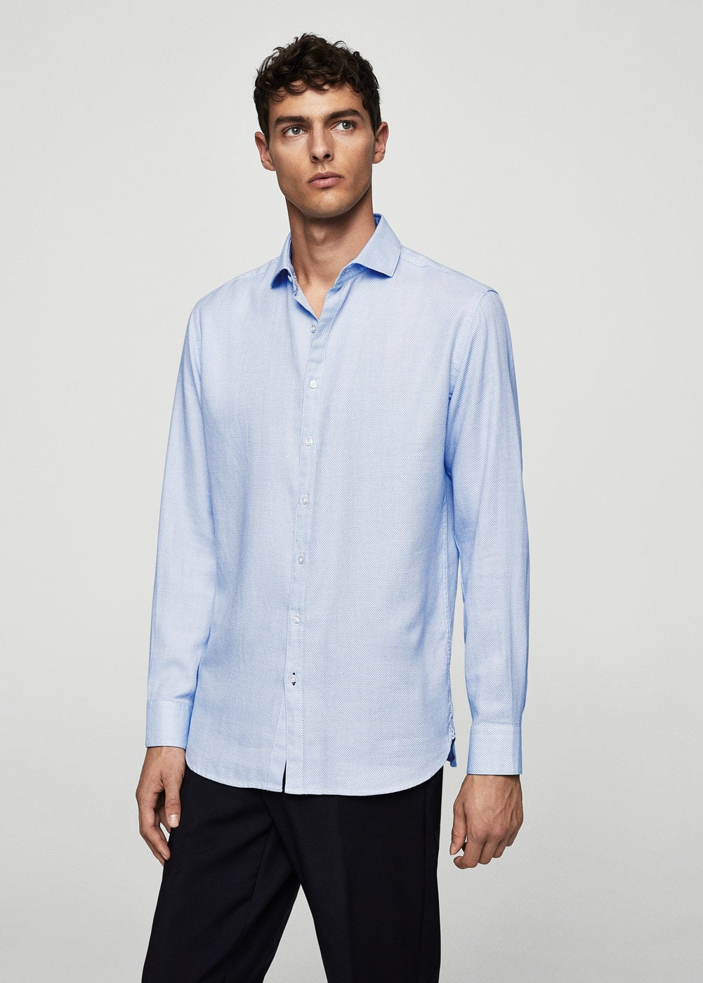 Regular-fit tie print shirt | MANGO MAN