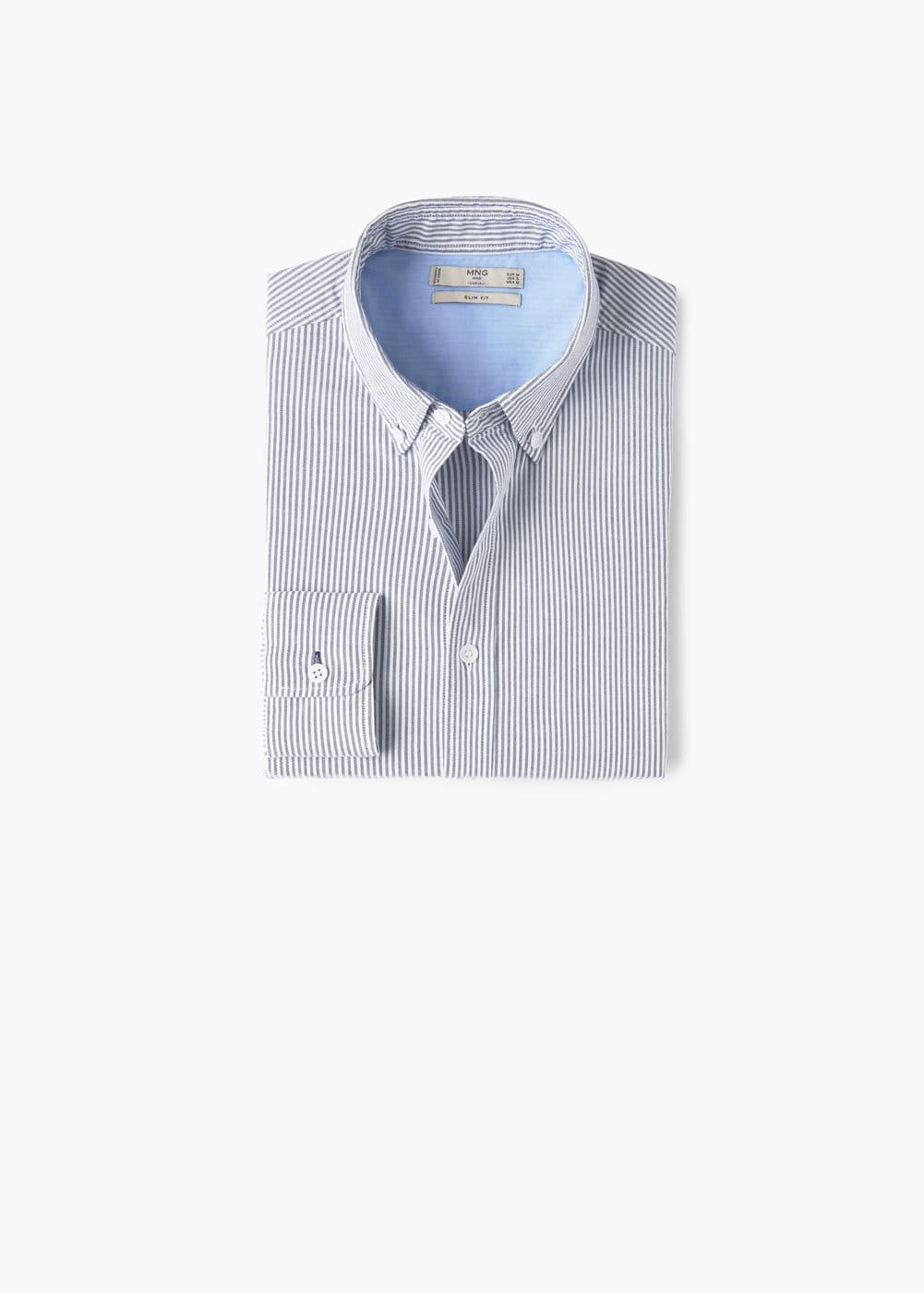 Stripe-pattern cotton shirt | MANGO MAN