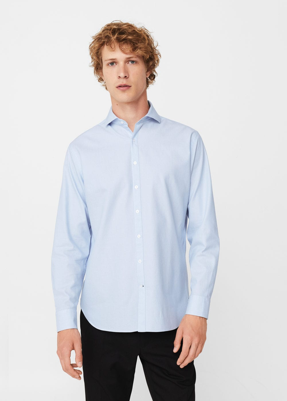 Regular-fit micro print shirt | MANGO MAN