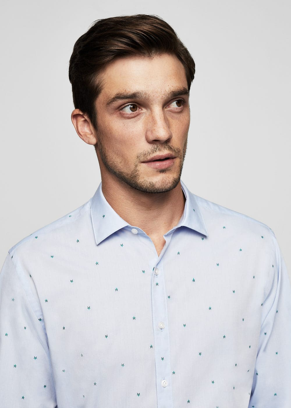 Regular-fit micro print shirt | MANGO