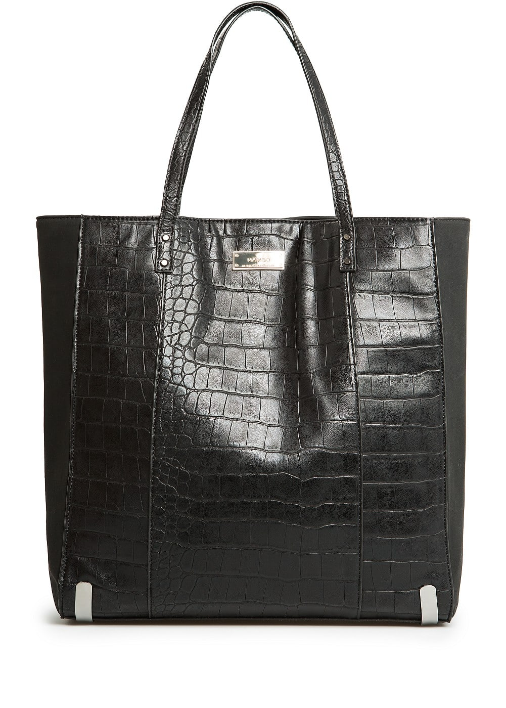 Croc effect shopper bag | MANGO