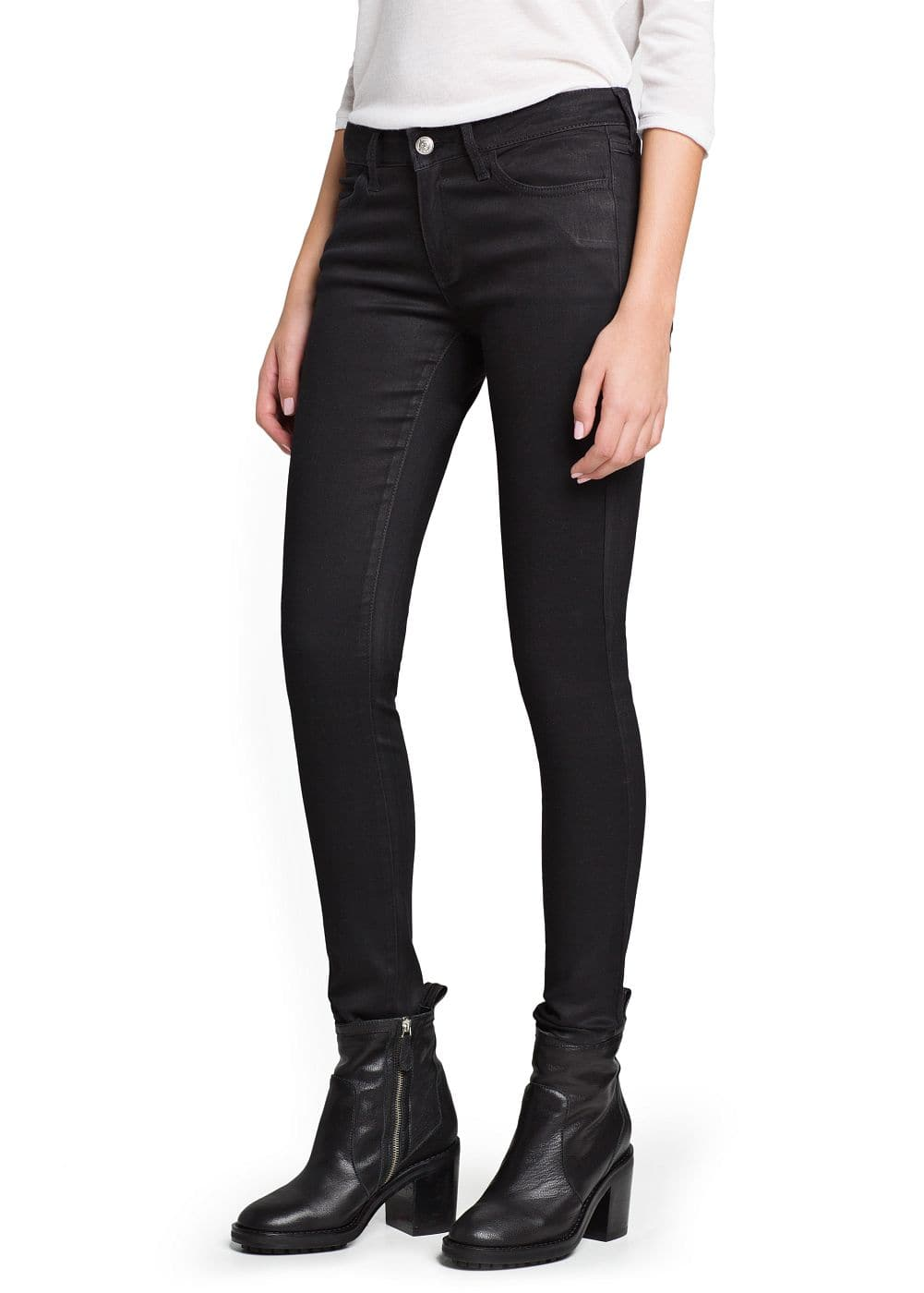 Super slim-fit coated black jeans | MANGO