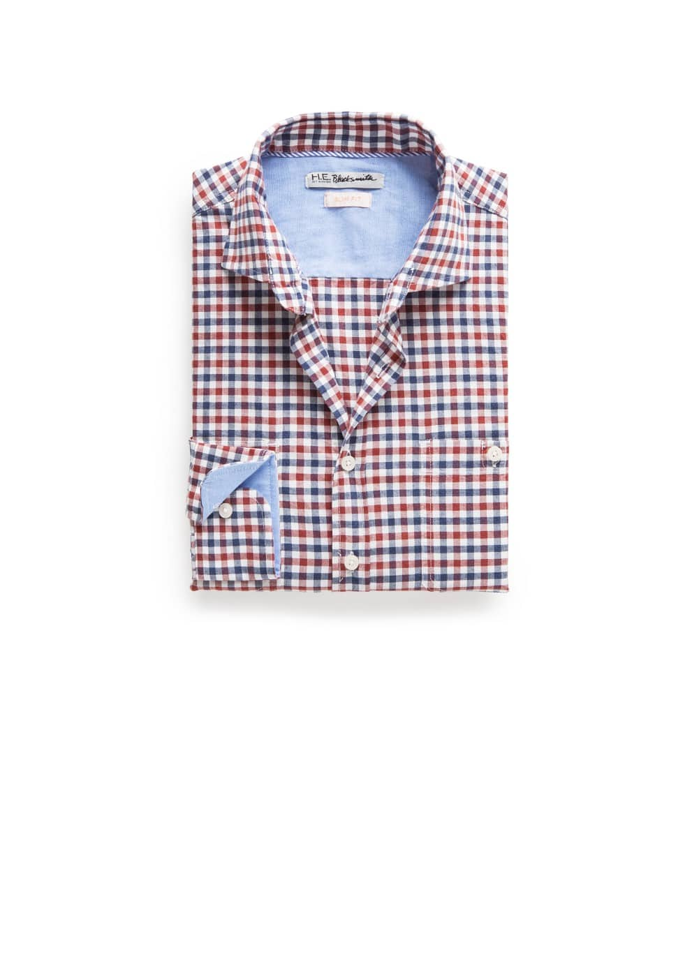 Slim-fit two-tone check shirt | MANGO MAN
