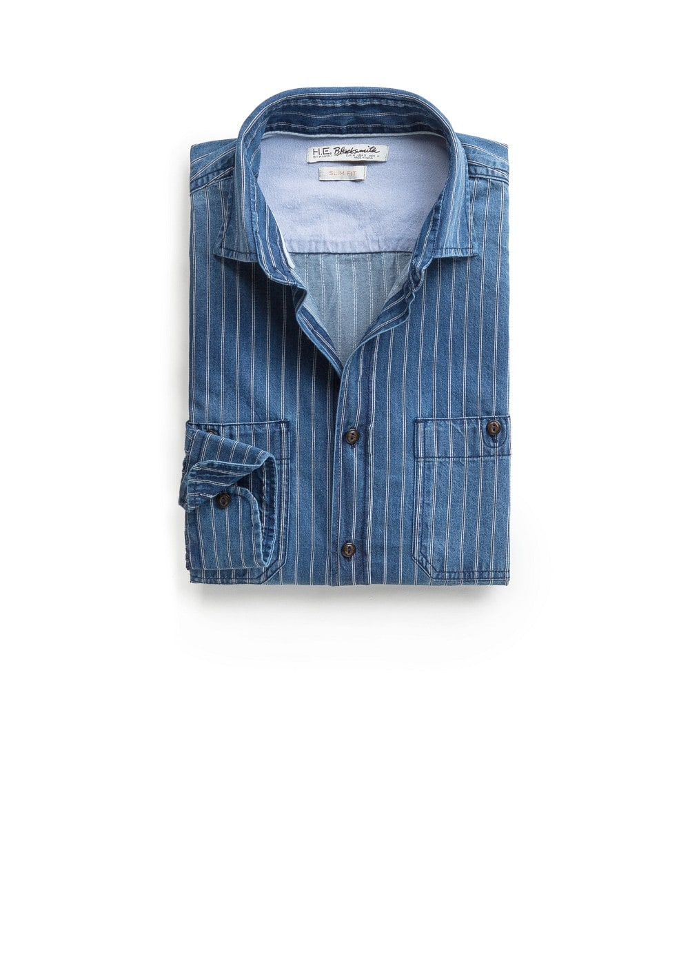 Slim-fit striped denim shirt | MANGO MAN