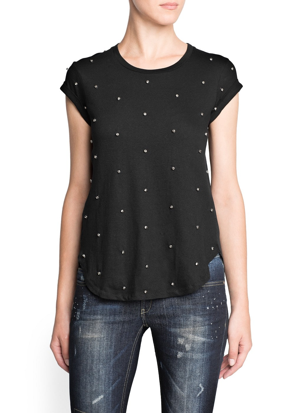 Crystal embellishment cotton t-shirt | MANGO