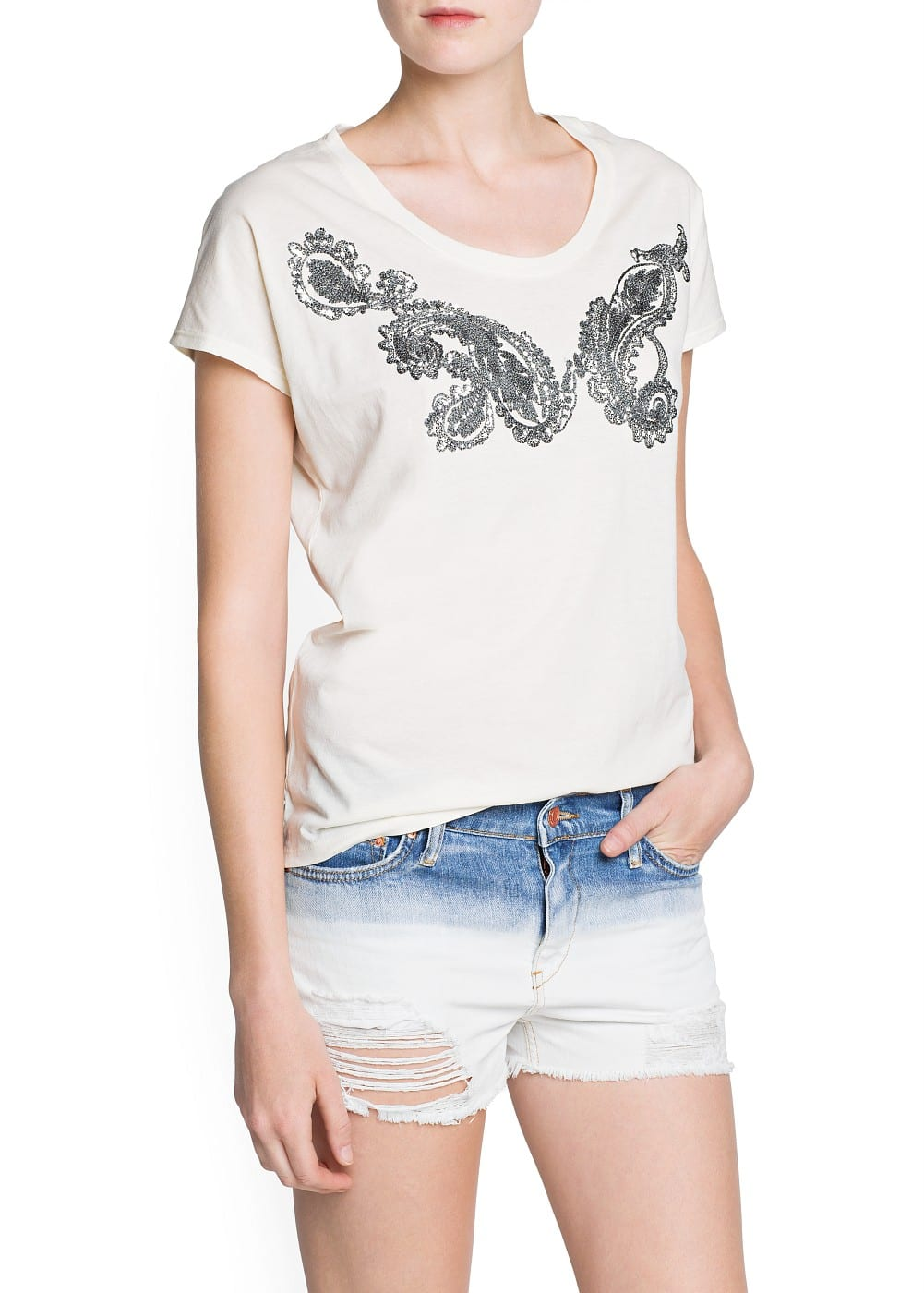Baroque embroidery cotton t-shirt | MANGO