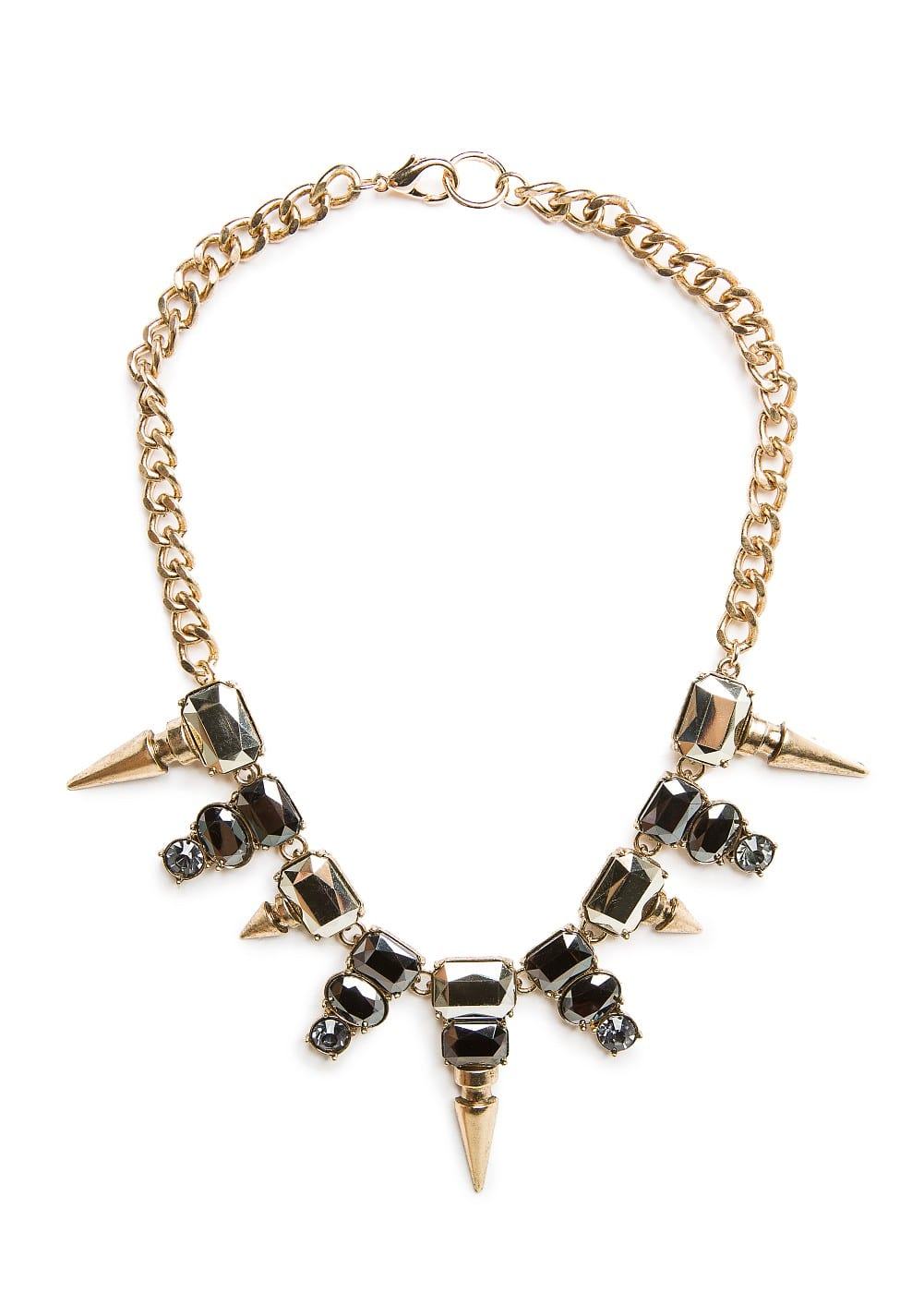 Spikes and crystals necklace | MANGO