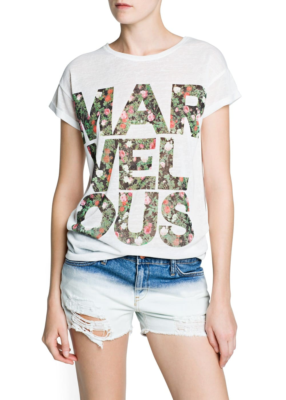 Floral typographic print t-shirt | MANGO