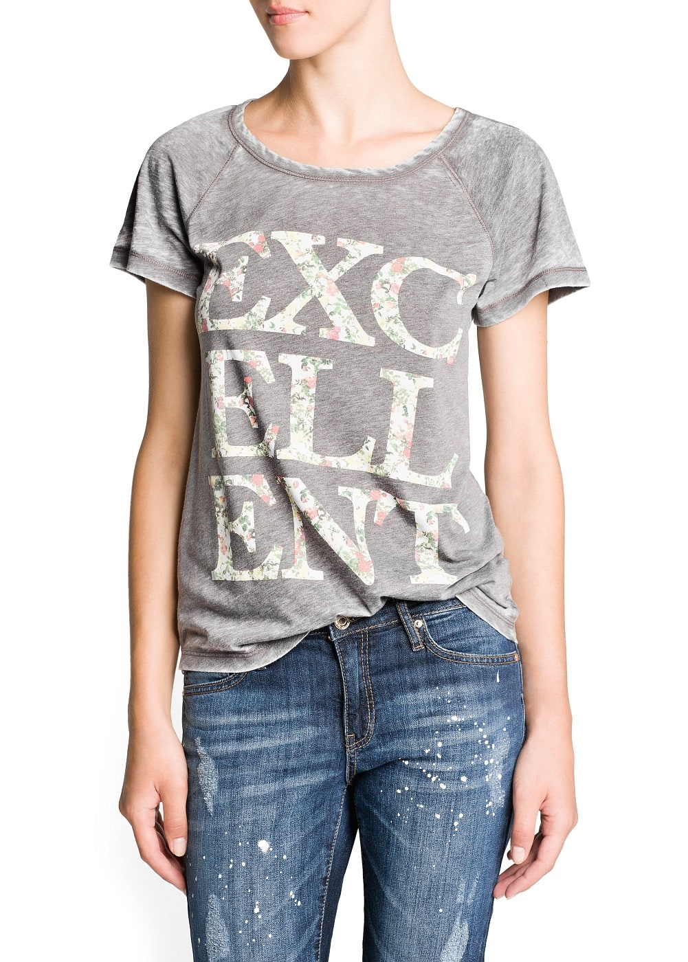 Typographic print cotton-blend t-shirt | MANGO