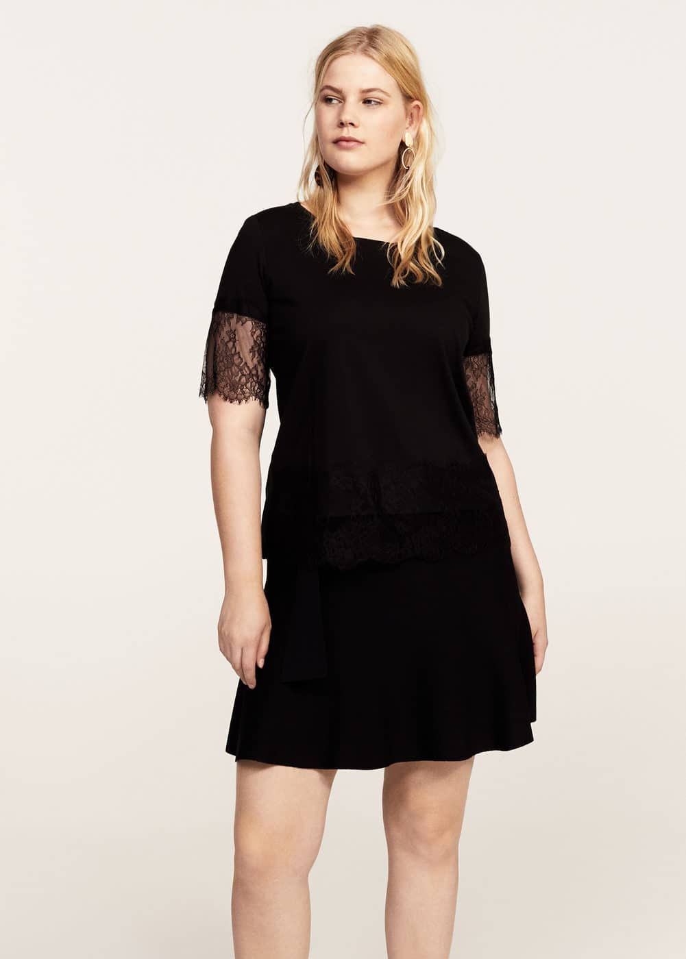 Lace appliqué t-shirt | MANGO