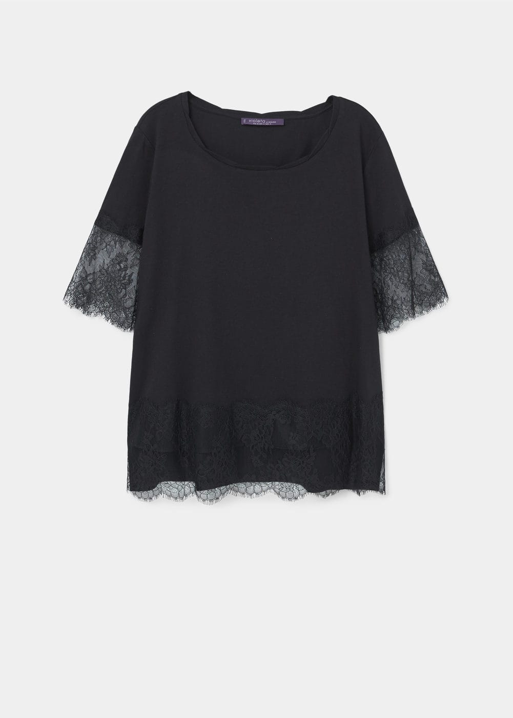 Shirt mit spitzenapplikationen | VIOLETA BY MANGO