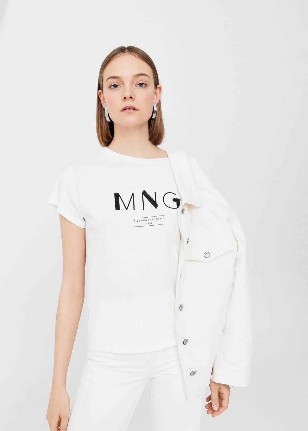 Frayed logo t-shirt | MANGO
