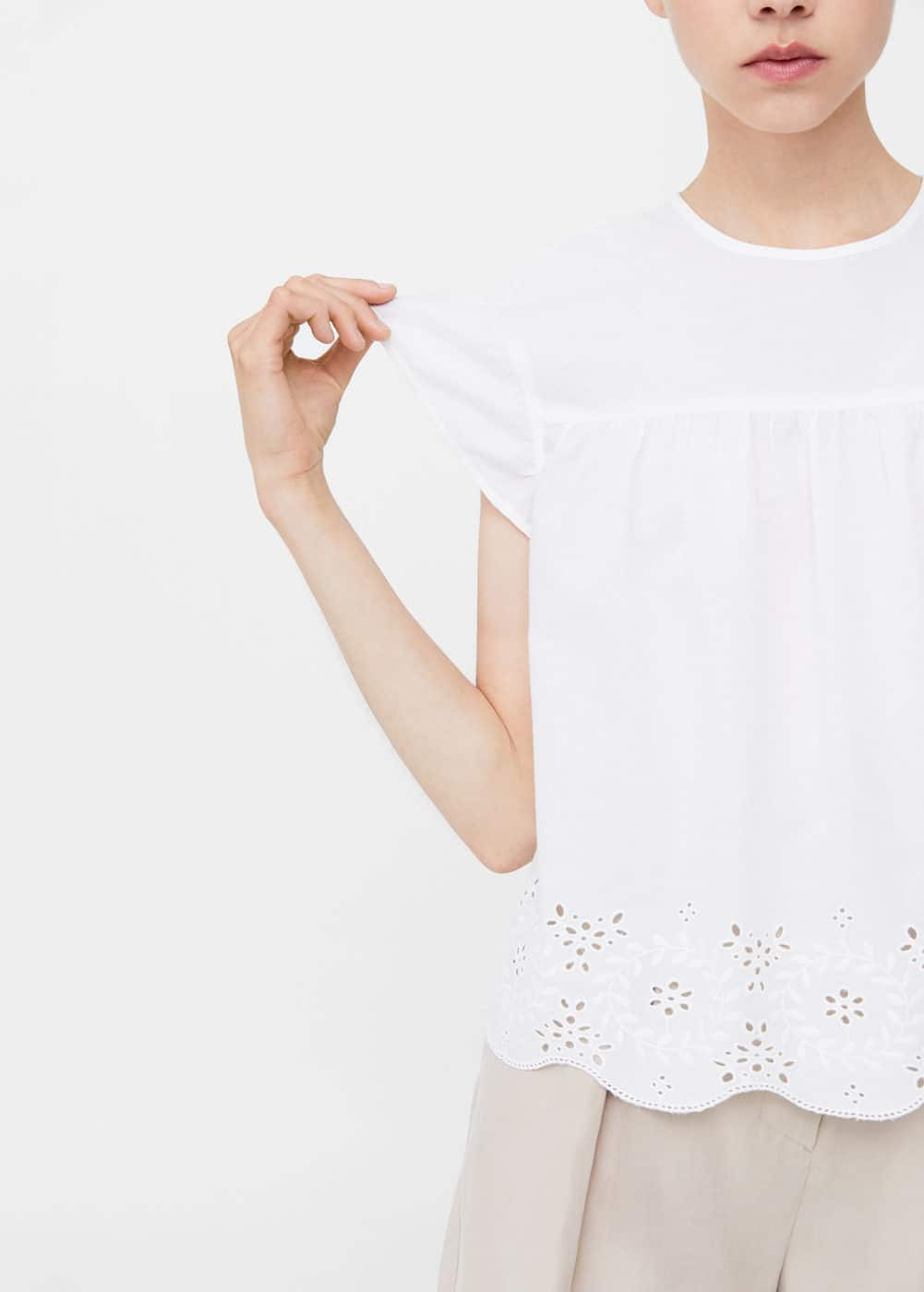 Laser-cut cotton t-shirt | MANGO