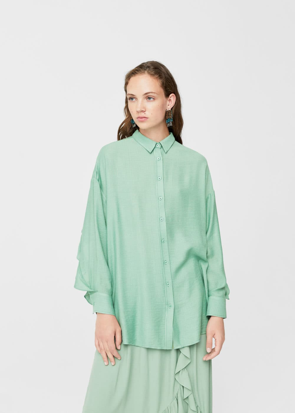 Ruffled slit shirt | MANGO