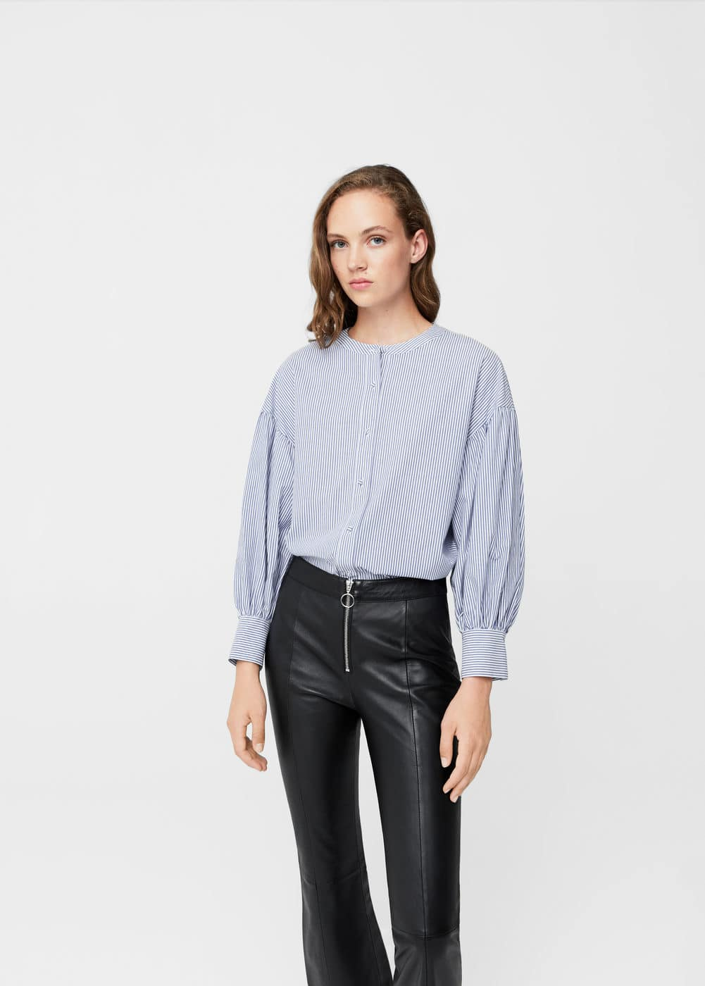 Striped poplin blouse | MANGO