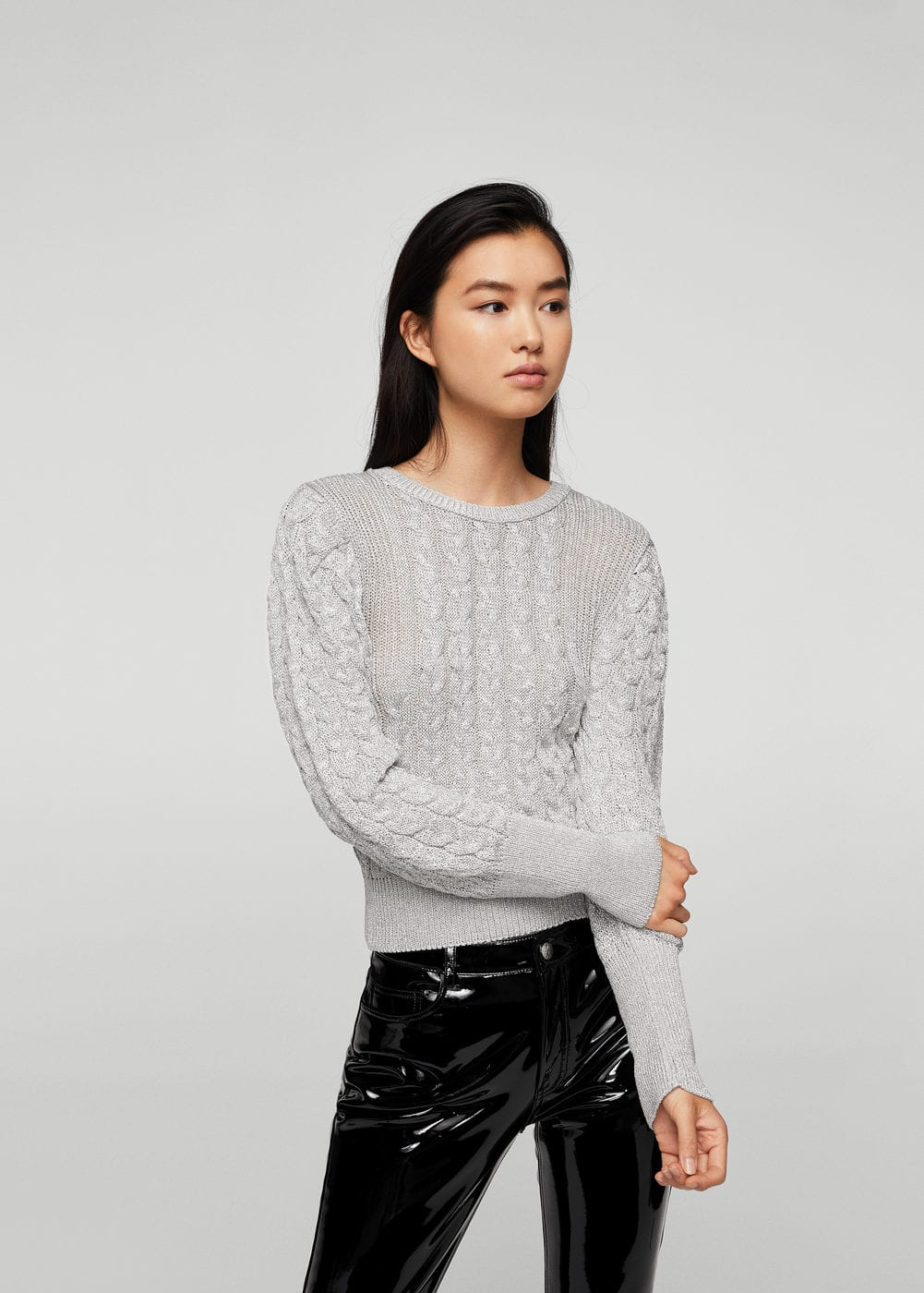 Cable-knit metal sweater | MANGO