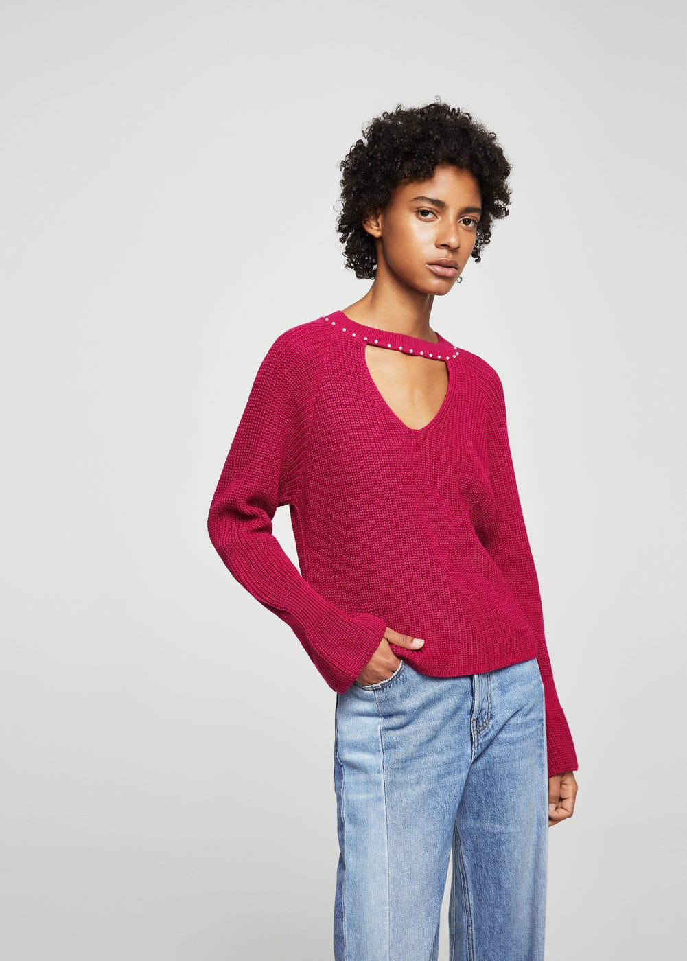 Pearls neckline sweater | MANGO