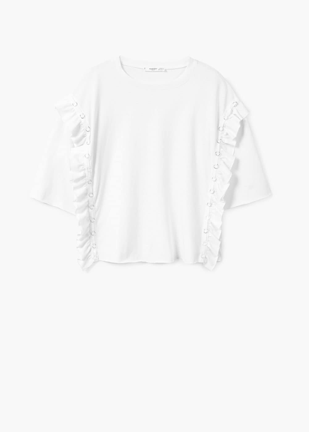 Ruffled piercing detail t-shirt | MANGO