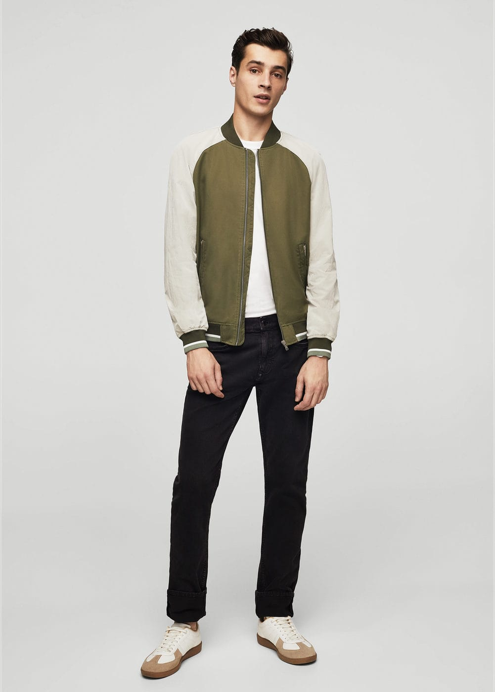 Cotton contrast arms bomber jacket | MANGO