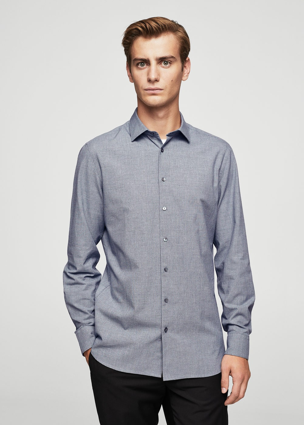 Slim-fit structured cotton shirt | MANGO MAN