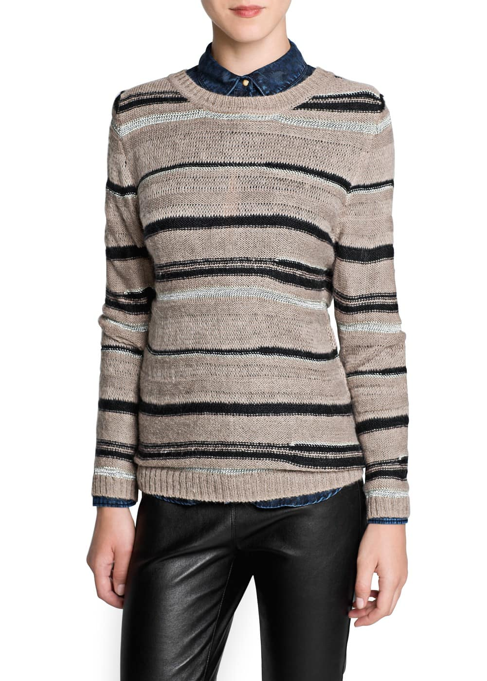 Metallic detail mohair-blend sweater | MANGO