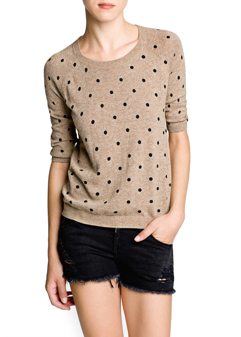 Polka-dot angora sweater | MANGO