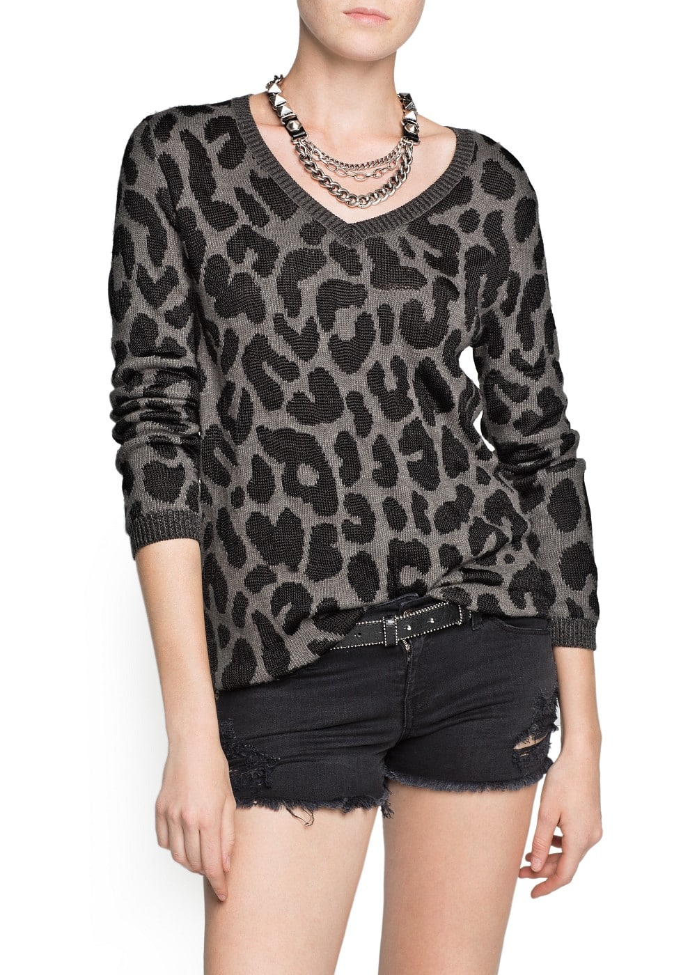 Leopard angora wool-blend sweater | MANGO