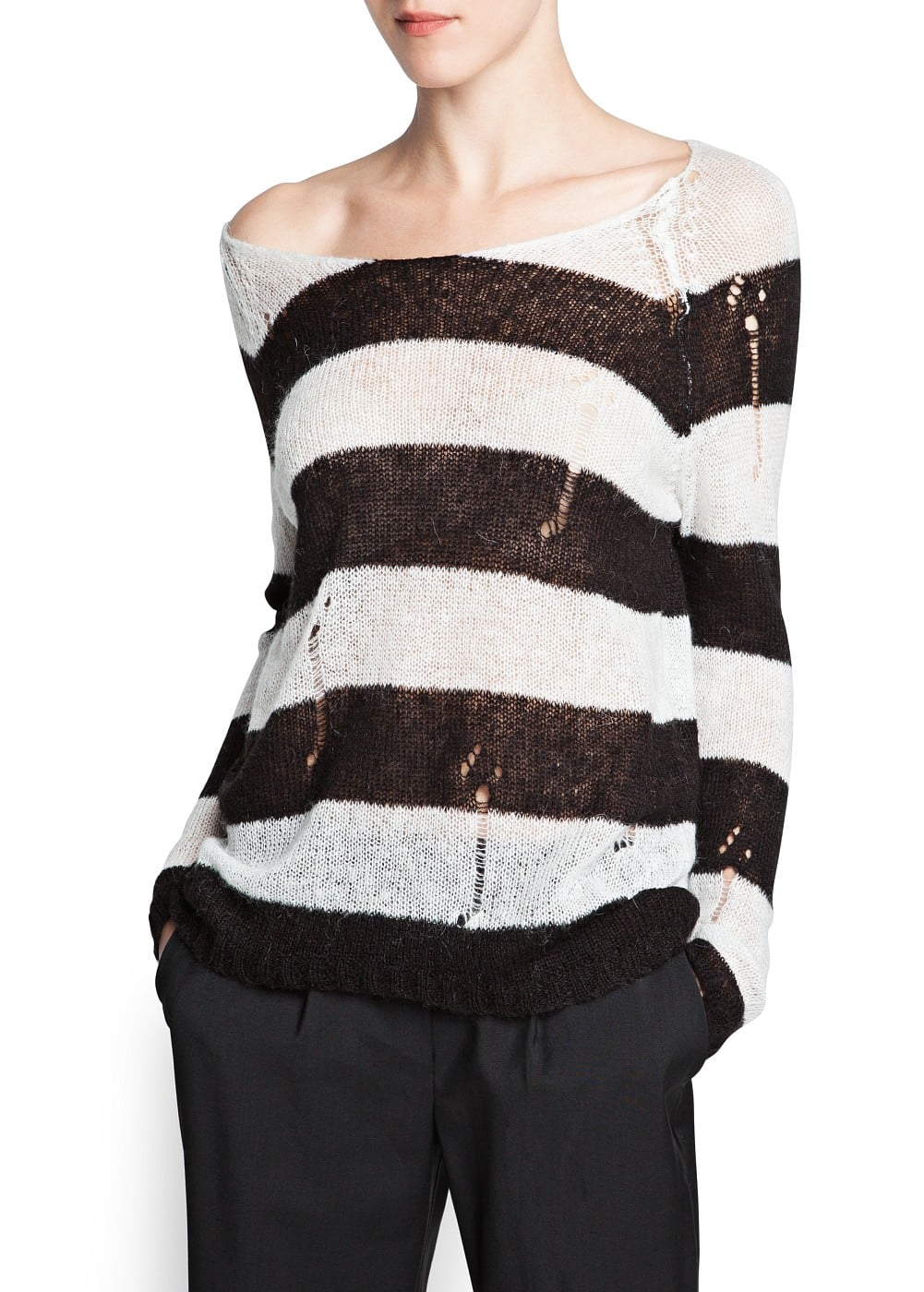 Openwork detail striped sweater | MANGO