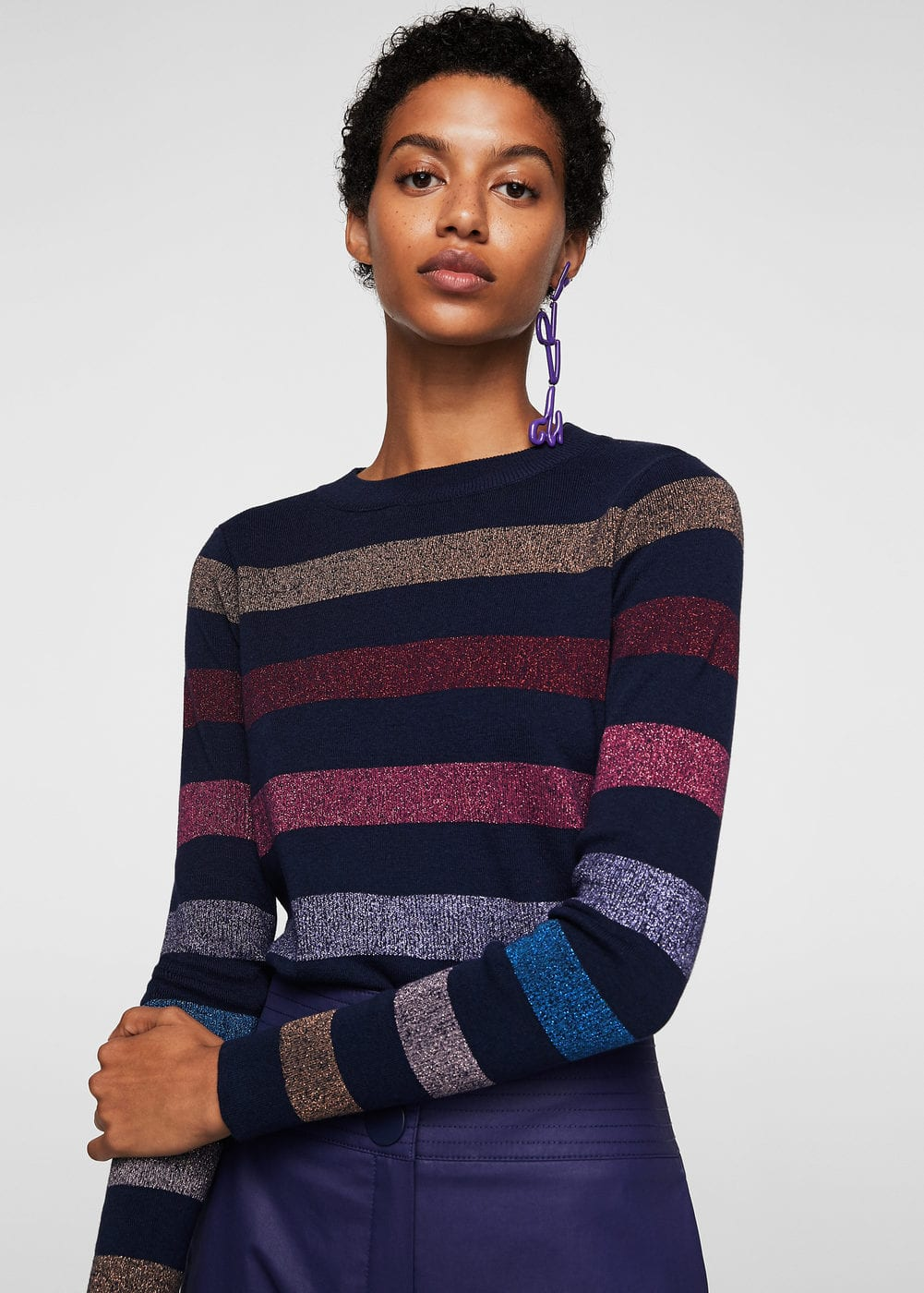 Striped cotton sweater | MANGO