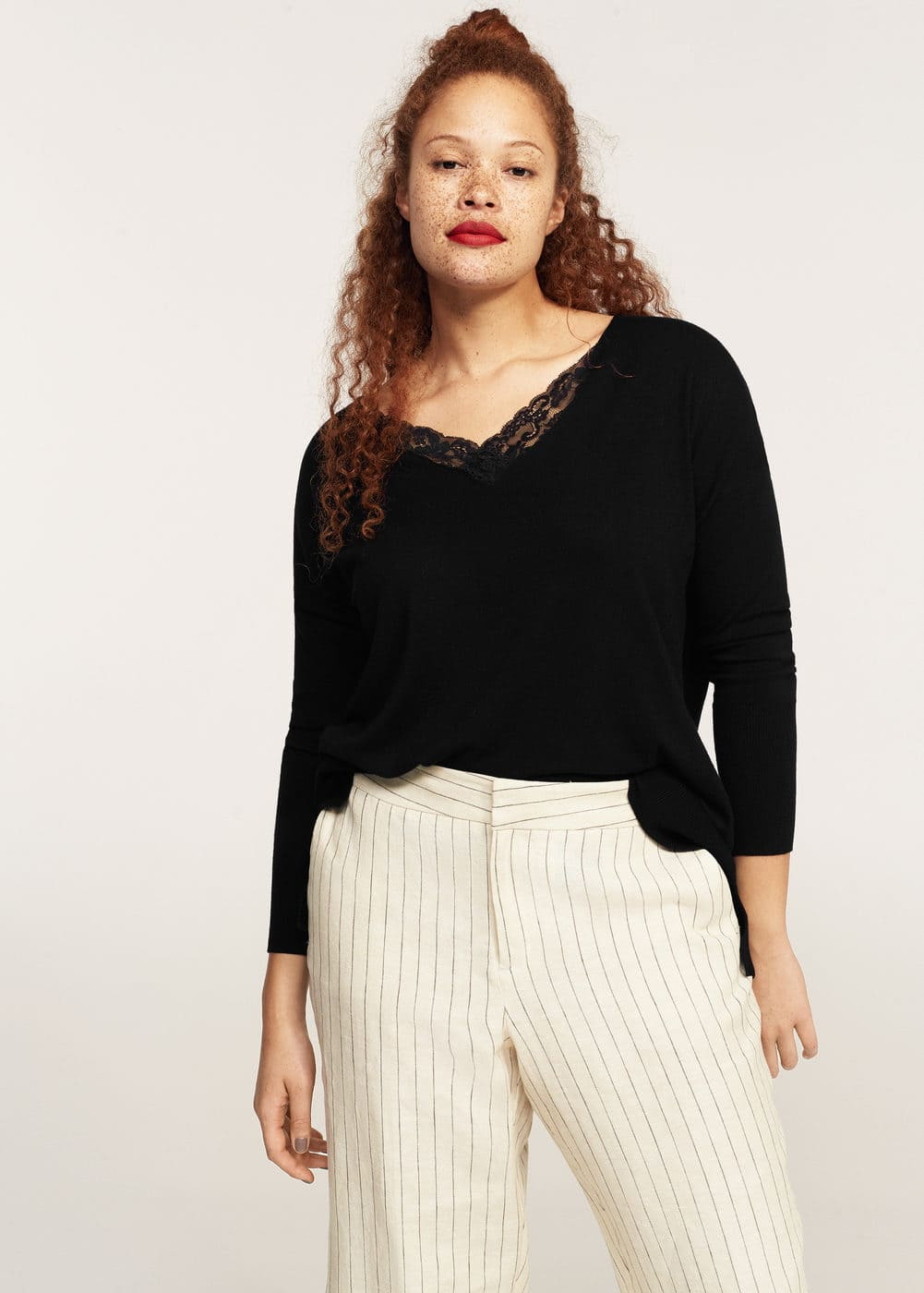 Lace panels sweater | MANGO