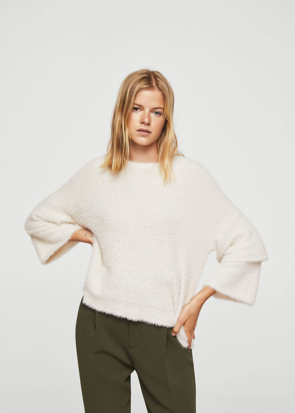 Flared sleeves texture sweater | MANGO