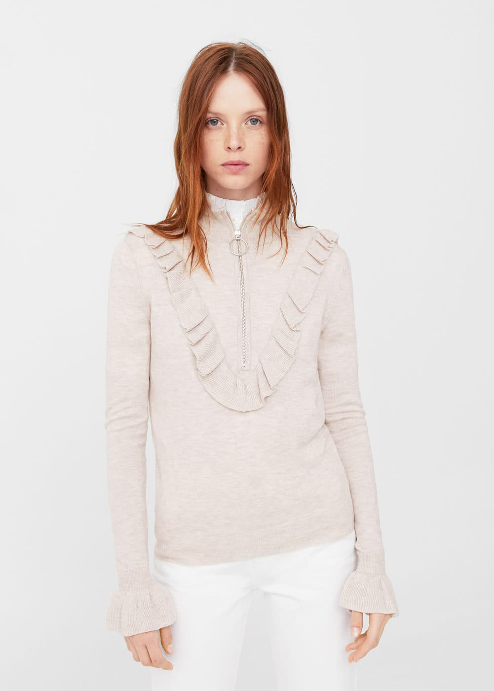 Ruffle zip sweater | MANGO