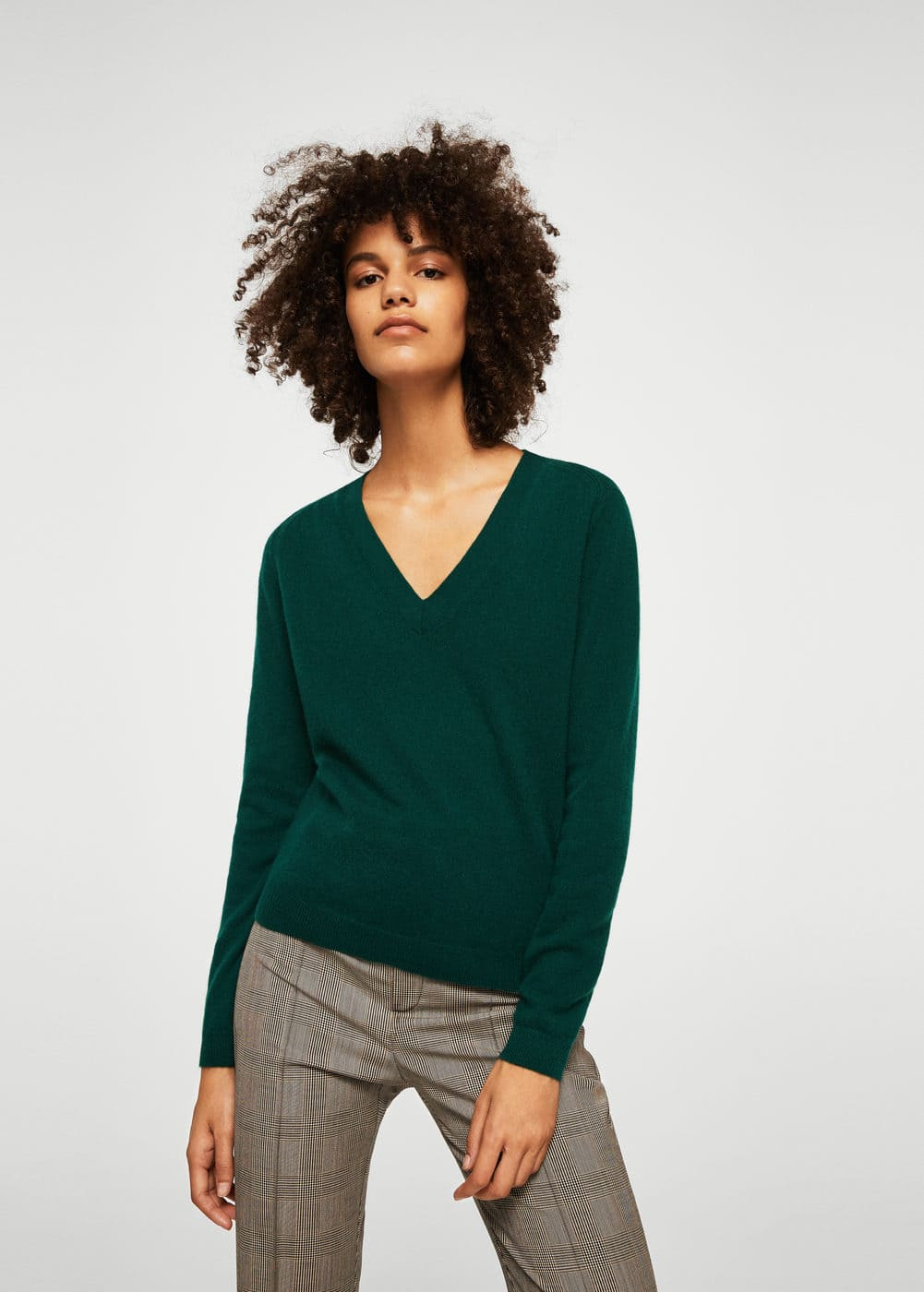 V-neck cashmere sweater | MANGO