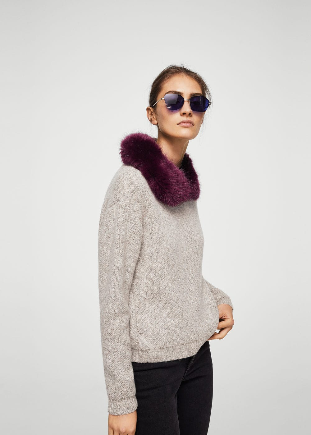 Faux-fur collar jumper | MANGO