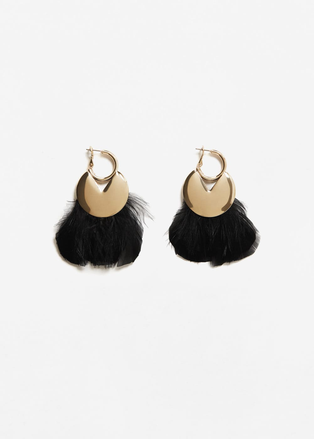 Feather hoop earrings | MANGO