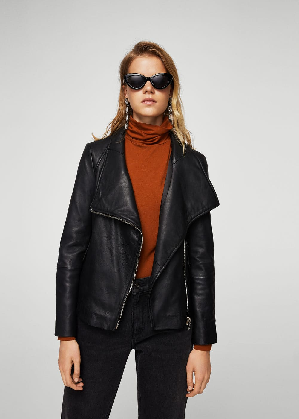Lapels leather jacket | MNG