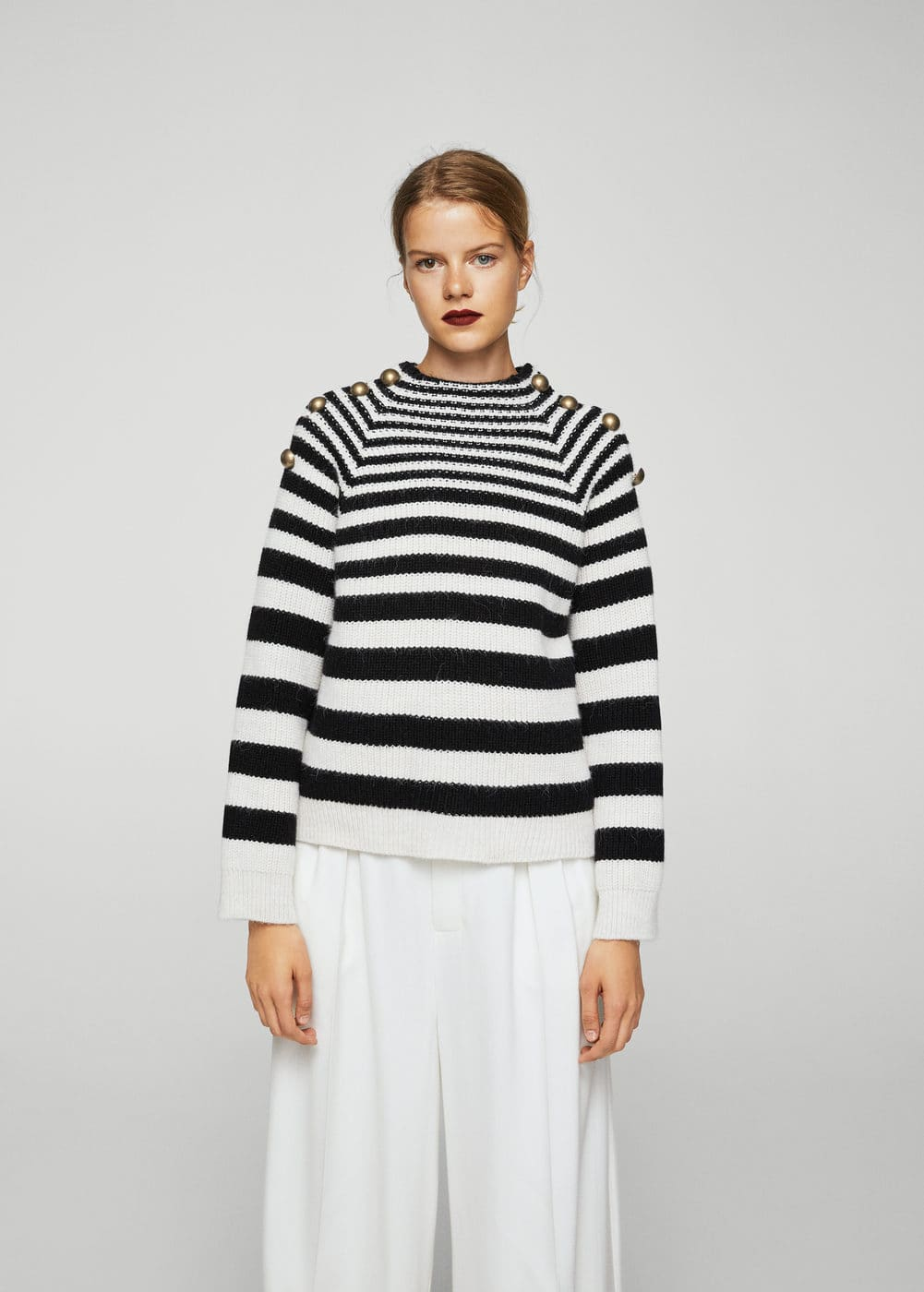 Buttoned striped sweater | MANGO