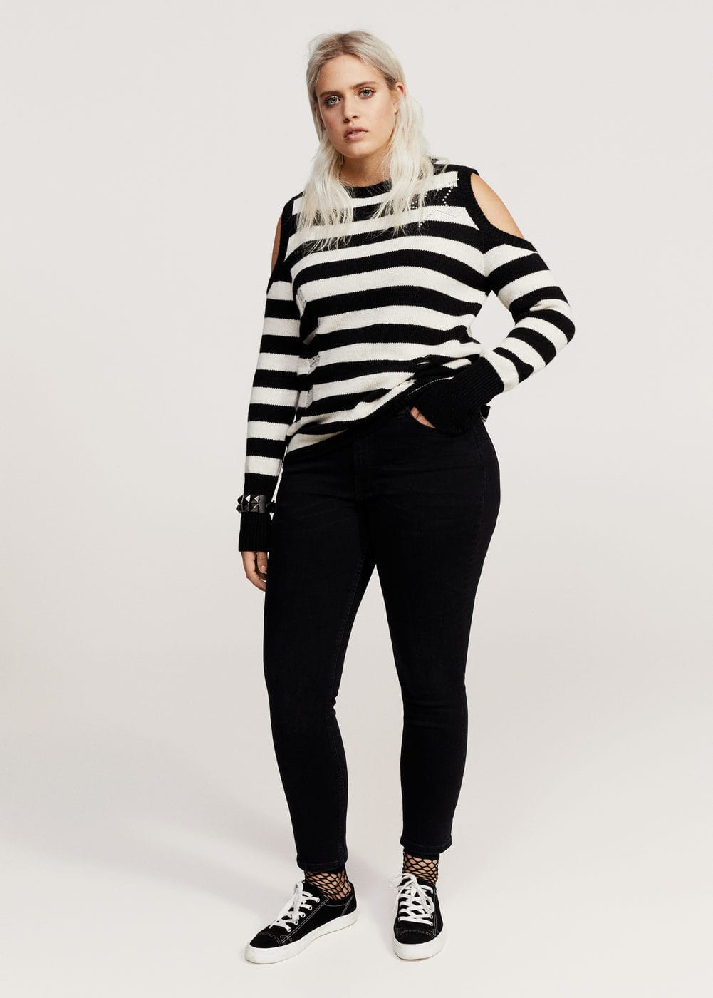 Cut-out striped sweater | VIOLETA BY MANGO