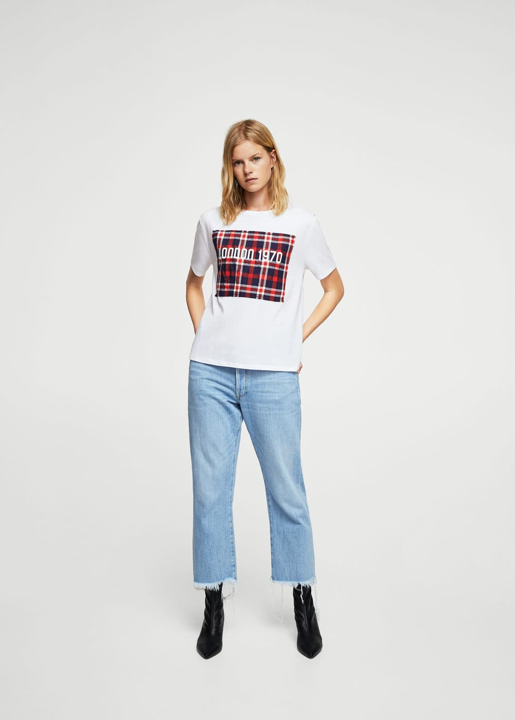 London check t-shirt | MANGO