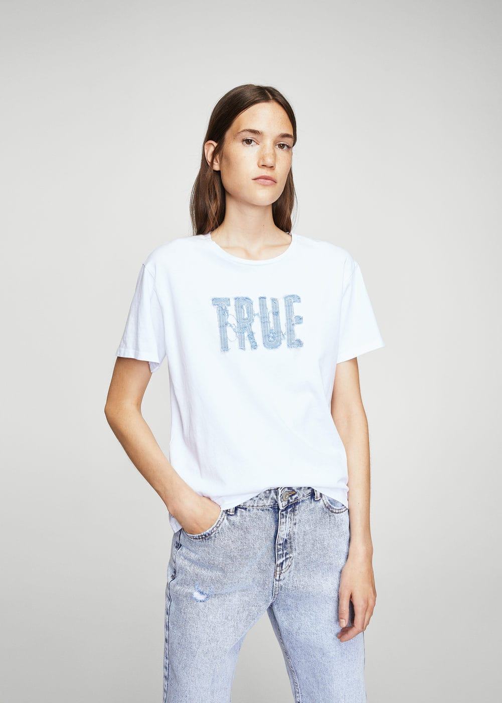 Denim message t-shirt | MANGO