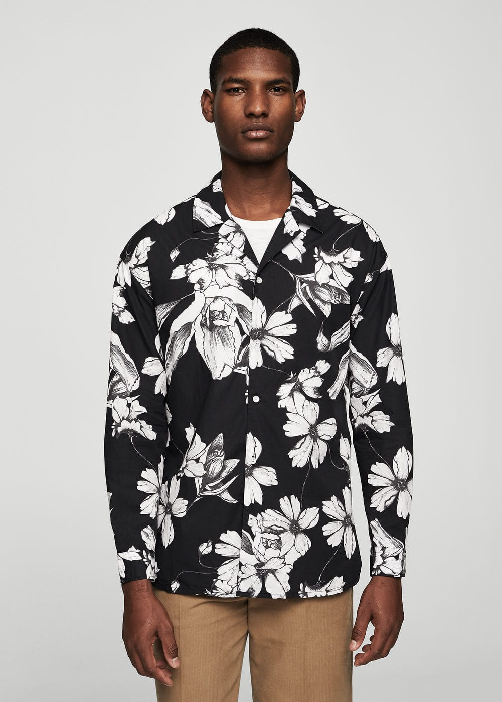 Regular-fit printed cotton shirt | MANGO MAN