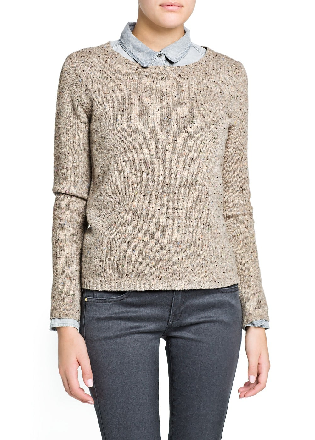 Mini studded wool-blend sweater | MANGO
