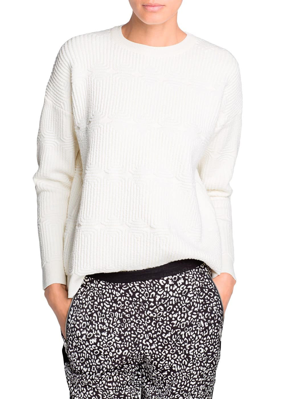 Cotton-blend jacquard sweater | MANGO