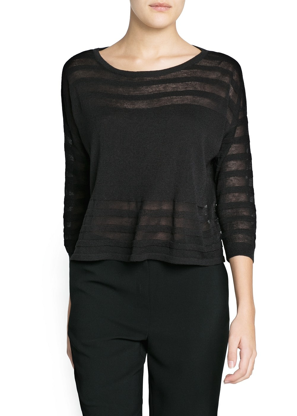 Sheer striped sweater | MANGO