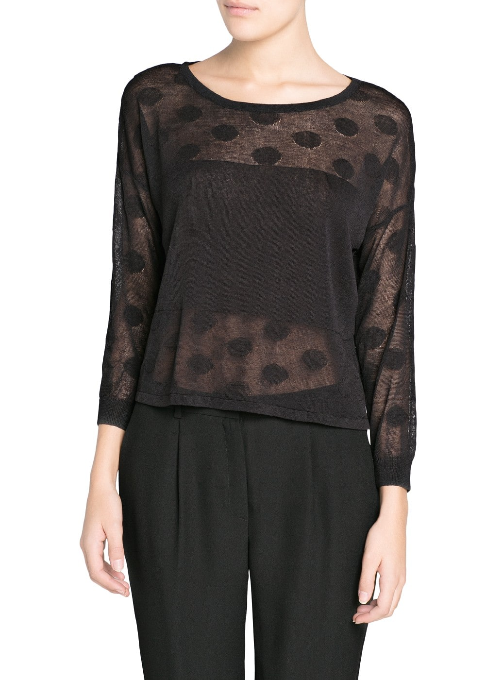 Contrast panel polka-dot sweater | MANGO