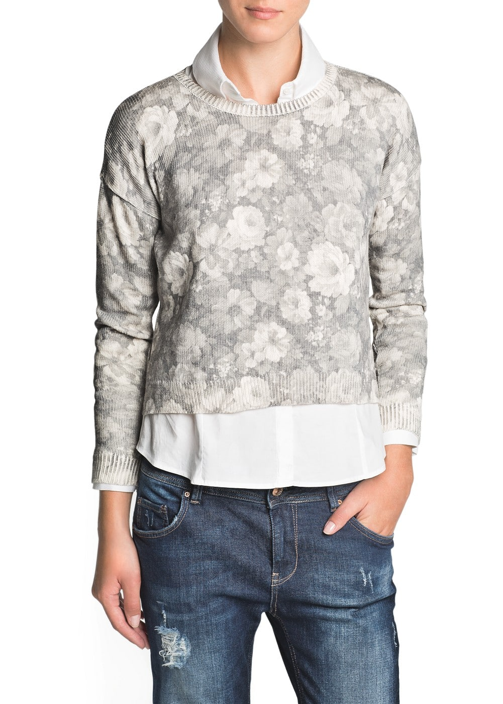 Floral print crop sweater | MANGO