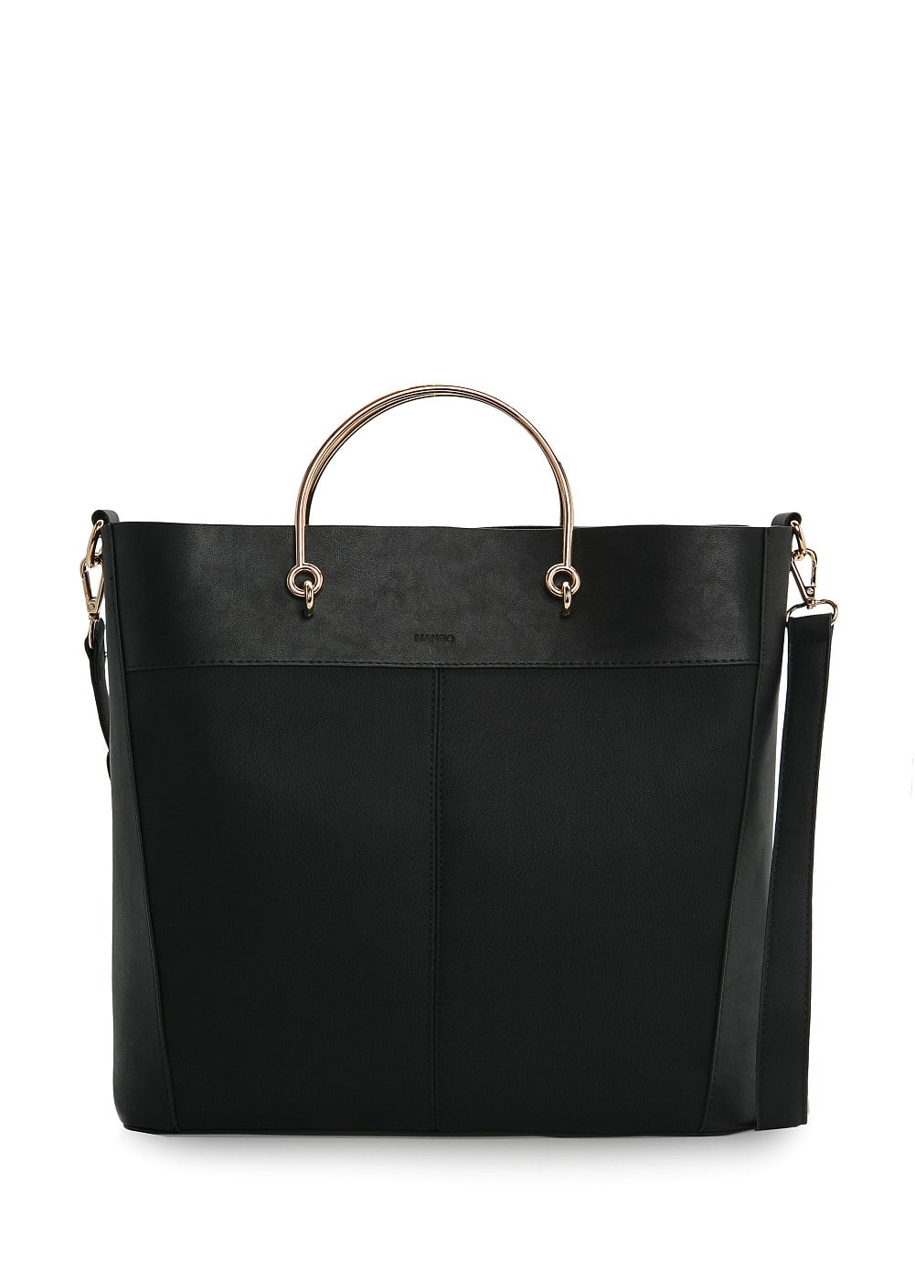Metal handle tote bag | MANGO