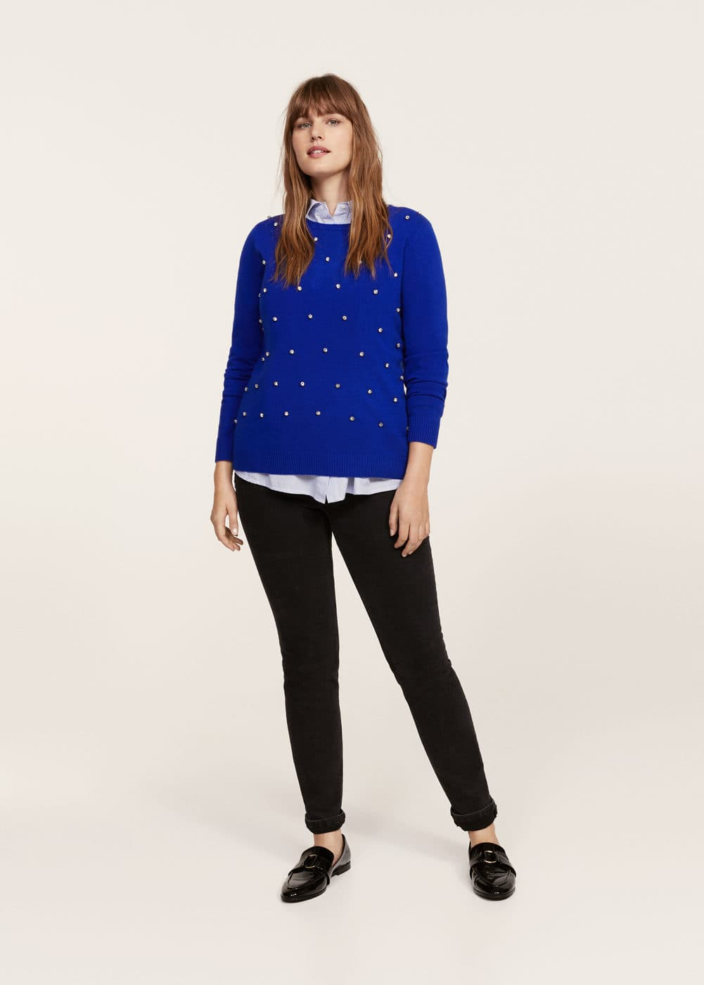 Crystal detail sweatshirt | VIOLETA BY MANGO