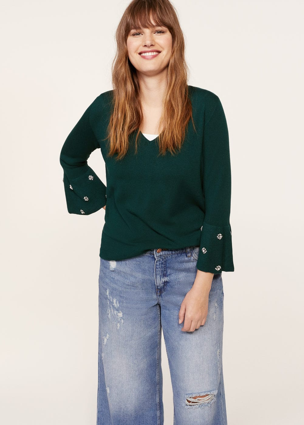Decorative appliqué sweater | MANGO